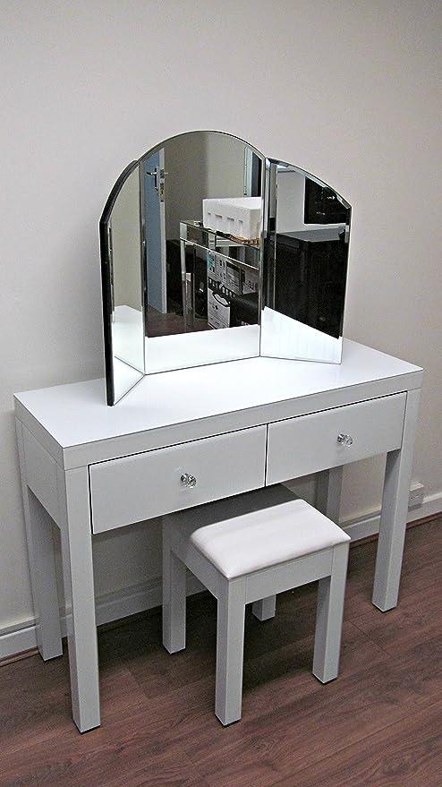 Sophie Rose Range White glass Venetian mirror Glass 2 Drawer ...
