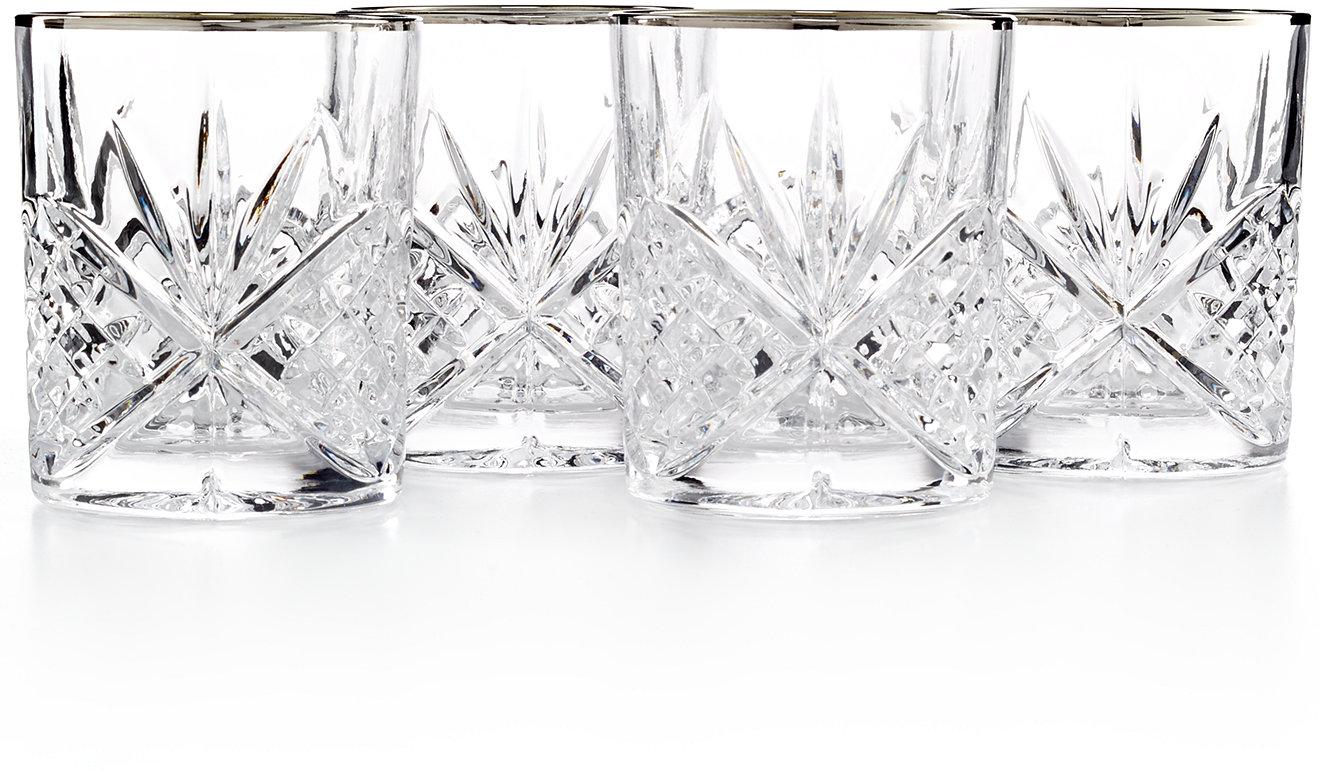 White apron macy's - Godinger Dublin Platinum Double Old Fashioned Glasses Set Of 4 All Glassware Stemware