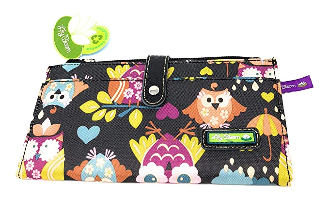 285f80b676f0 Lily Bloom What a Hoot Black Floral OWLS Front Snap Wallet at Amazon ...