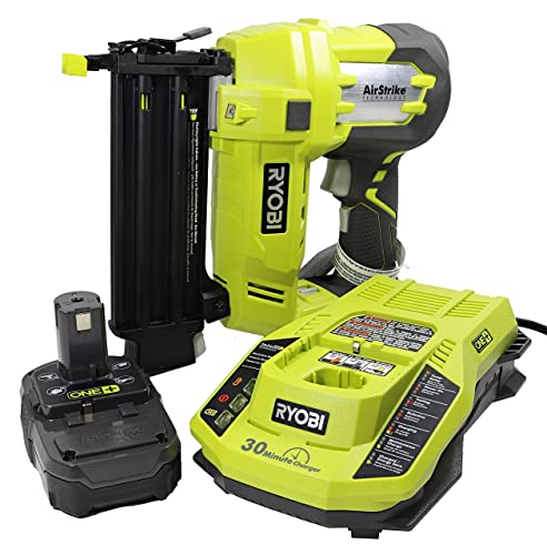 Ryobi 3 Piece 18V One Airstrike Brad Nailer Kit Includes 1 x P320 Brad Nailer, 1 x P102 2AH 18V Battery, 1 x P117 IntelliPort Dual Chemistry Battery Charger Renewed