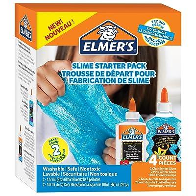 Elmers Slime Starter Kit Clear School Glue Blue Glitter Glue 4