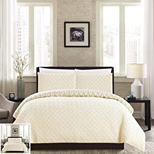 Chic Home 3 Piece Ora Heavy Embossed and Embroidered Quilted Geometrical Pattern Reversible Printed Queen Comforter Set Beige