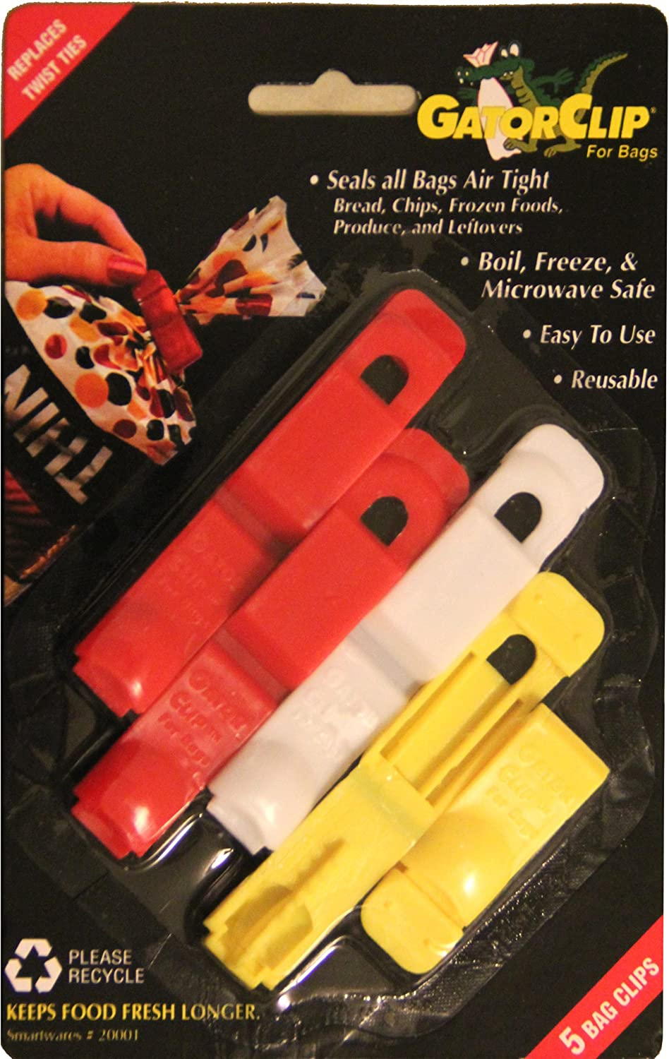 Smartwares Original Gatorclip Bag Clip Twist Tie Replacement, Assorted2 Red, 1 White and 2 Yellow, 2 inch