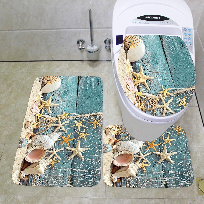 3 PCs Bathroom Mats Set, Flannel Lid Toilet Seat Cover Mat 17' x14-1/2, Soft Non-Slip Bath Mat for Shower Tub Door Entry Extra Absorbent 17' x29-1/2, U Shape Contour Toilet Bathroom Rug 16'x17' Flannel Lid Toilet Seat Cover Mat 17 x14-1/2 Pourmaison