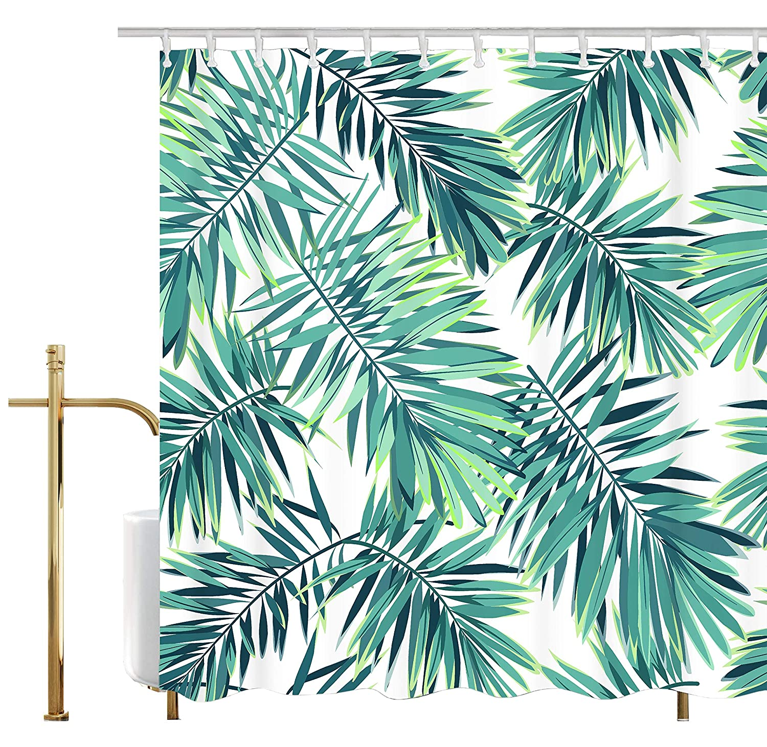Ao blare Leaf Shower Curtain Green White Tropical Plants Decor Palm Leaves Mildew Resistant Polyester Fabric Shower Curtain 72X72 Inch