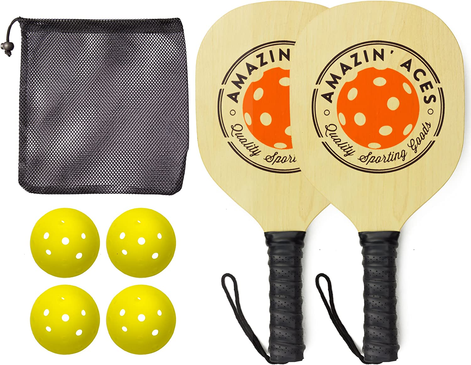 Amazin' Aces Pickleball Paddle Set Pickleball Set Includes 2 Wood Pickleball Paddles, 4 Pickleballs, 1 Carry Bag & Guaranteed Fun! | Beginner-Intermediate Racket | Includes Free eBook : Sports & Outdoors