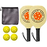 Amazin' Aces Pickleball Paddles   Set Includes 2 Wood Pickleball Paddles + 4 Pickleballs + 1 Mesh Carry Bag   Great Rackets for Beginners   Pickleball Paddle Set Includes eBook w/Rules & Tips