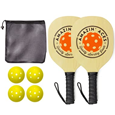 Amazin' Aces Pickleball Paddles | Set Includes 2 Wood Pickleball Paddles + 4 Pickleballs + 1 Mesh Carry Bag | Great Rackets Beginners | Pickleball Paddle Set Includes eBook w/Rules & Tips