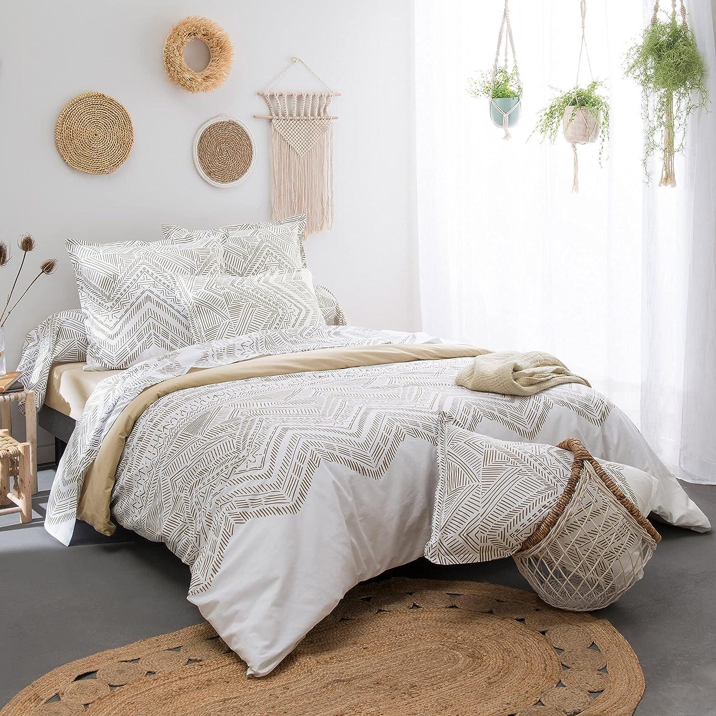 Juego de cama de 280 x 240 cm, 100 % algodón, color crudo, 3 piezas