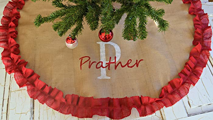 christmas monogramed tree skirt burlap tree skirt custom tree skirt last name hand