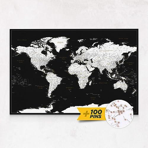 Cartina Geografica Del Mondo In Bianco E Nero.Cartina Geografica Mondo In Moderno Bianco Nero Quadro Su Tela Incorniciato Con 100 Puntine Incluse Planisfero Da Parete 100x70 120x80 150x100 Cm Dimensioni Mappa Del Mondo Familiabastida Com
