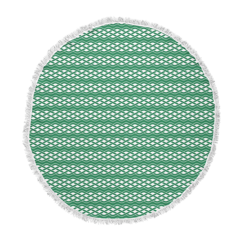 Kess InHouse Kess Original Celtic-Texture Green White Round Beach Towel Blanket