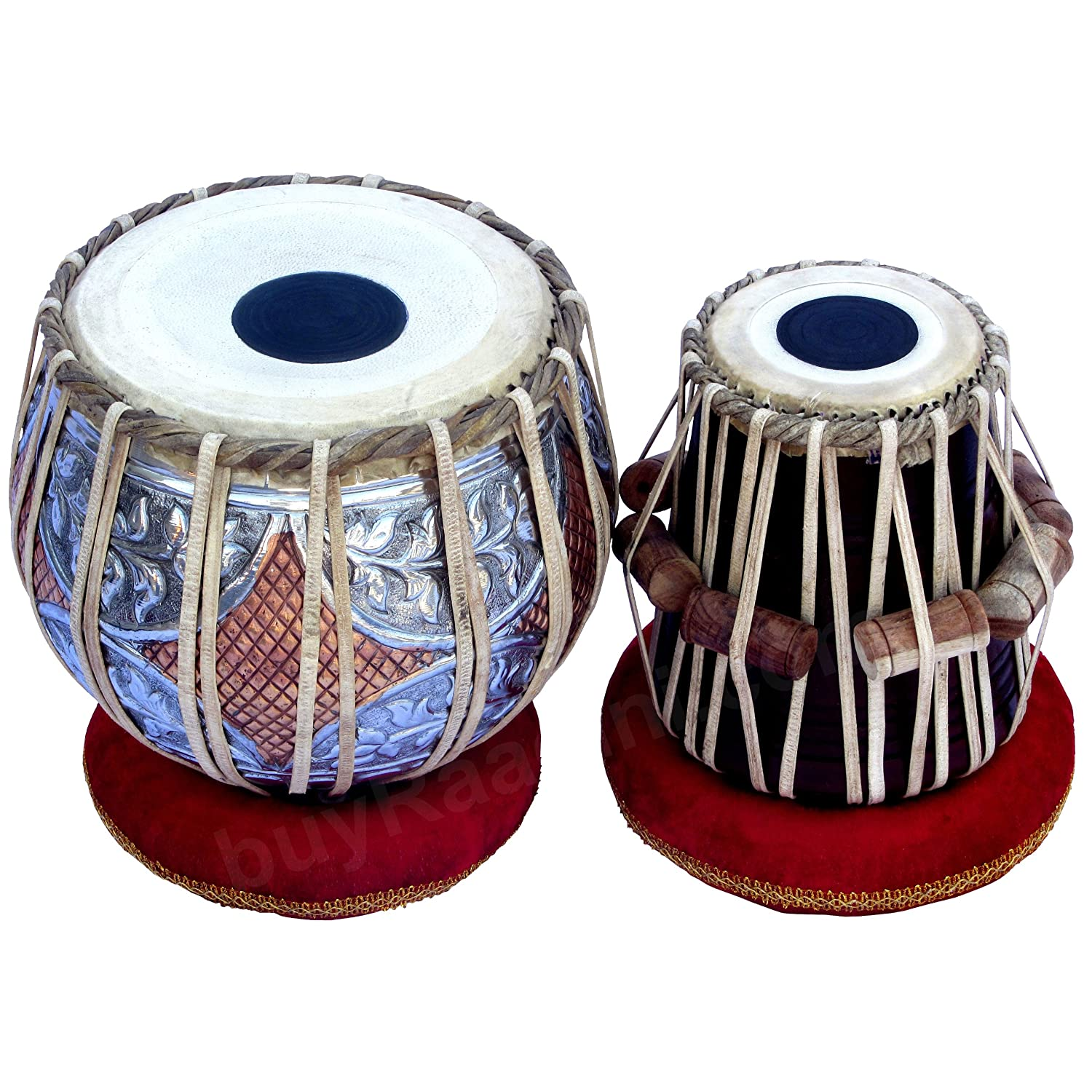 Maharaja Musicals Tabla Drum Set, Concert Quality, 4.5Kg Copper Bayan - Double Color, Sheesham Dayan Tuneable To C#, Padded Bag, Book, Hammer, Cushions & Cover, Indian Hand Drums (PDI-GJ) buyRaagini.com
