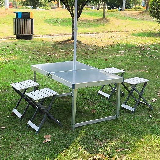 HMLIGHT Plegable Mesa de jardín con 4 sillas Ajustables en Altura sillas de Camping Tabla describen 47,2 L x 23.6 Pulgadas Mesa y sillas portátiles para Office jardín al Aire Libre: Amazon.es: Jardín