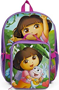 Nickelodeon Dora the Explorer Purple Backpack with Insulated Lunch Kit for Girls