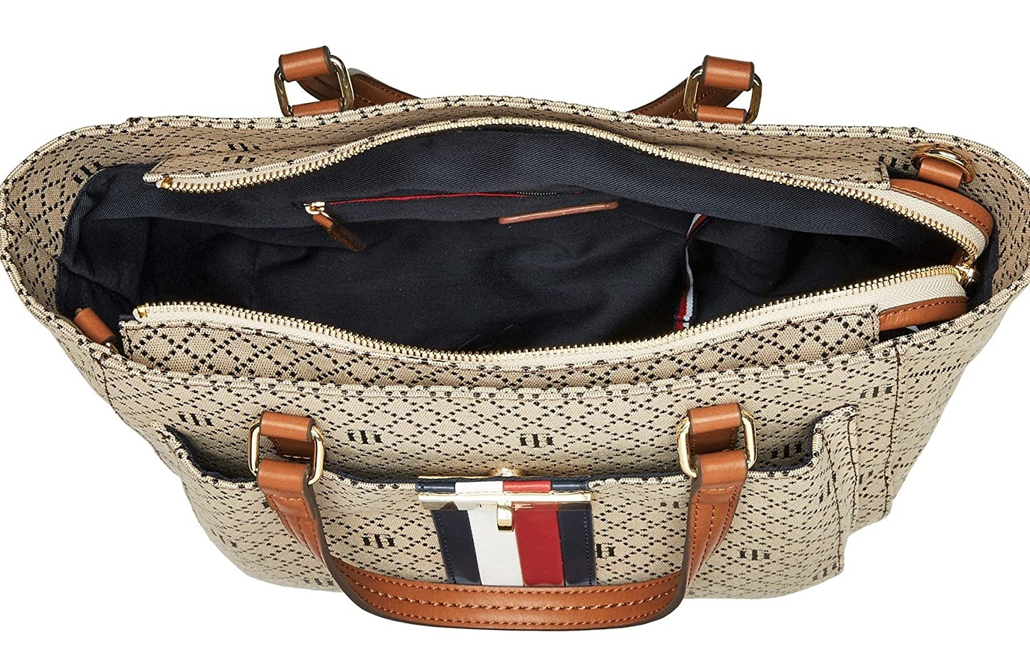 64648d99b628 Tommy Hilfiger Women s Angie Shopper Tan Dark Chocolate One Size  Handbags   Amazon.com