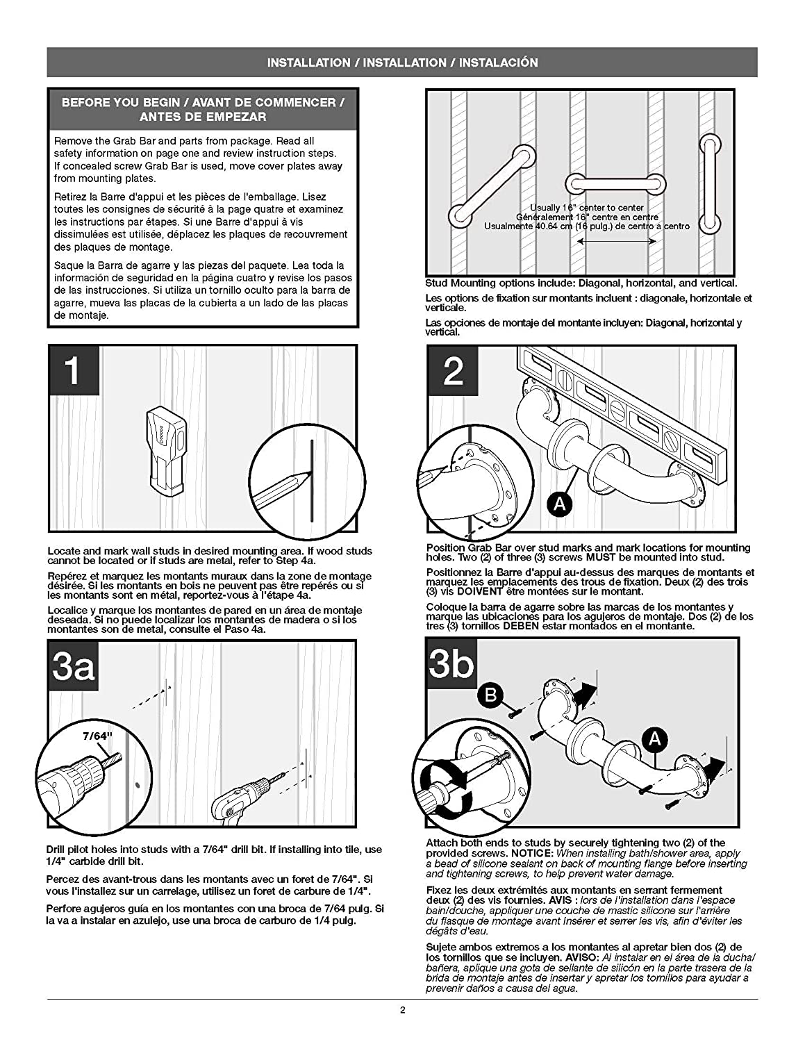 Liberty Delta DF5636SS Bathroom Safety Grab Bar with 36