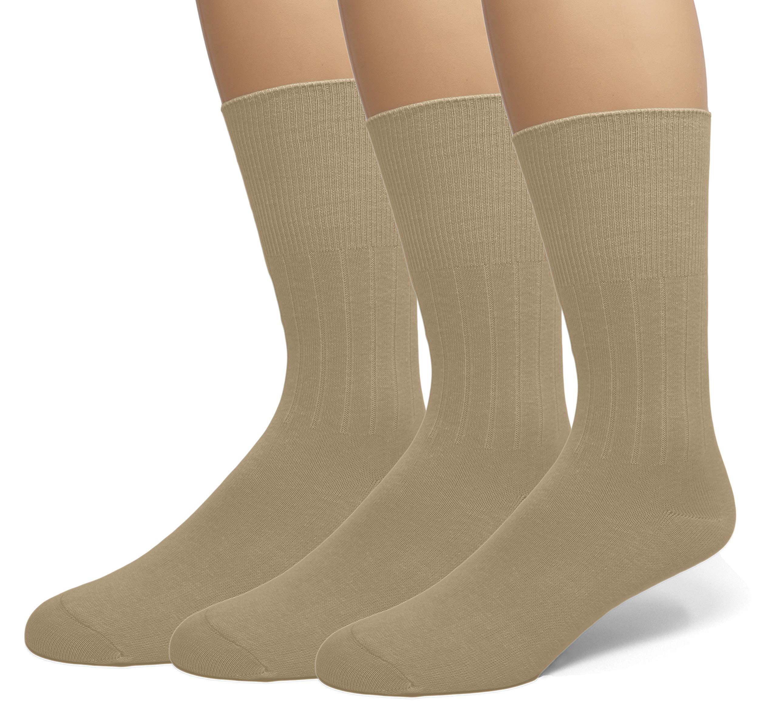 Classic Men's Diabetic Circulatory Non-Binding Top Loose Top Casual Dress Crew Mid Calf Cotton Seamless Toe Hosiery Socks 3-Pack Khaki 10-13