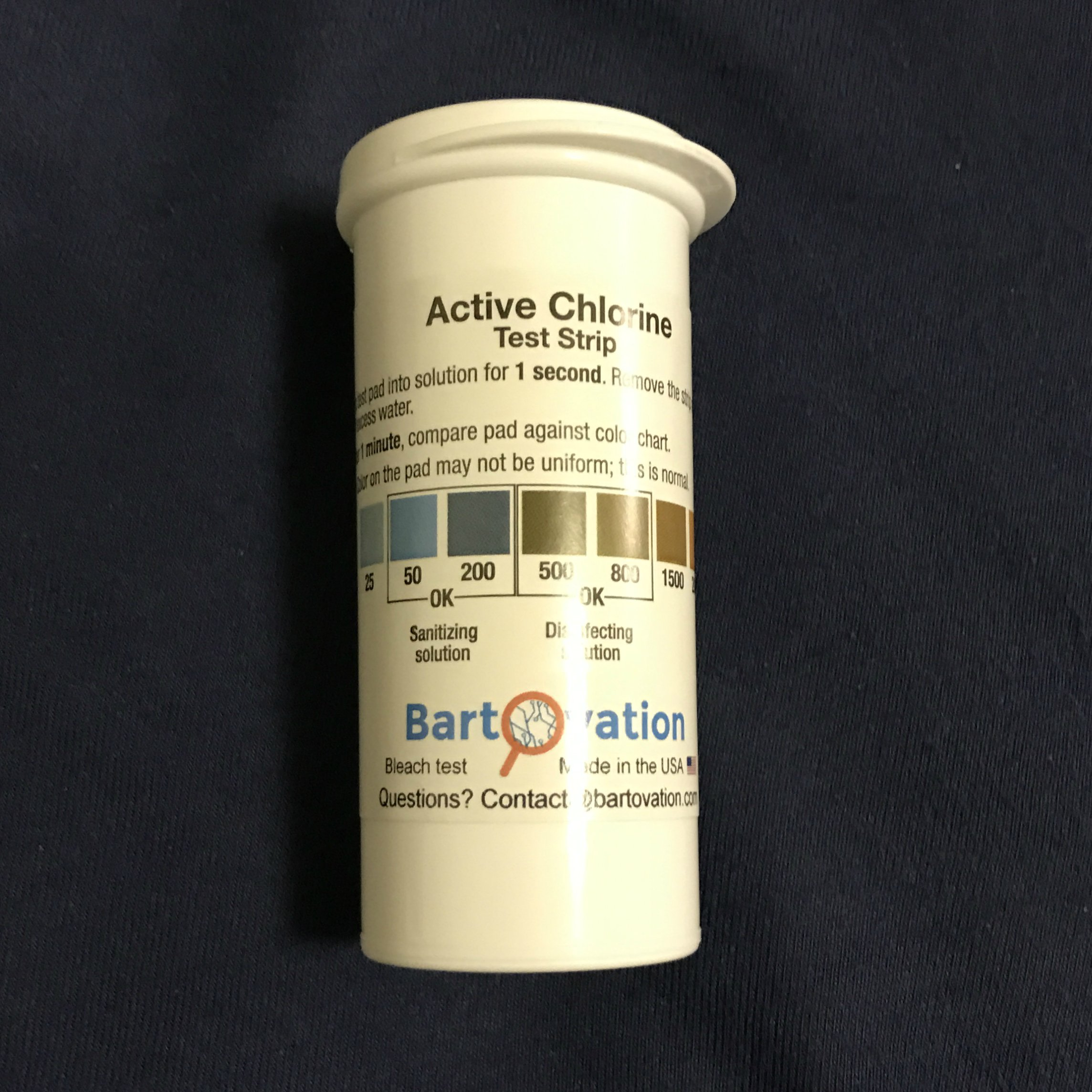 100 PK Plastic Active Chlorine Bleach Test Strip, High Level Up to 2000ppm for Sanitizers and Disinfectants Designed for DAYCARES & Senior Homes!