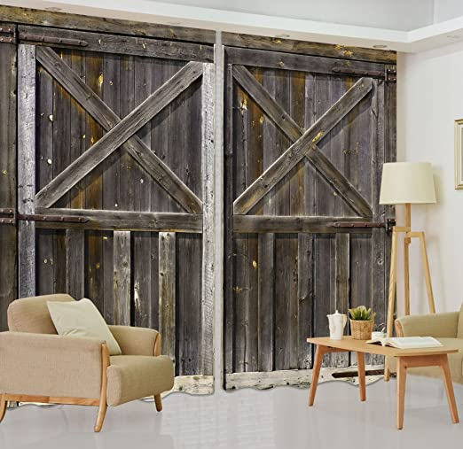 Amazon Com Lb Rustic Barn Door 3d Window Curtains For Living Room Bedroom Vintage Farmhouse Wooden Door Decor Teen Kids Room Darkening Blackout Curtains Drapes 2 Panels 59 By 108 In Long Home Kitchen