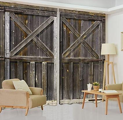 LB Rustic Barn Door 3D Window Curtains for Living Room Bedroom,Vintage  Farmhouse Wooden Door Decor Teen Kids Room Darkening Blackout Curtains  Drapes 2 ...