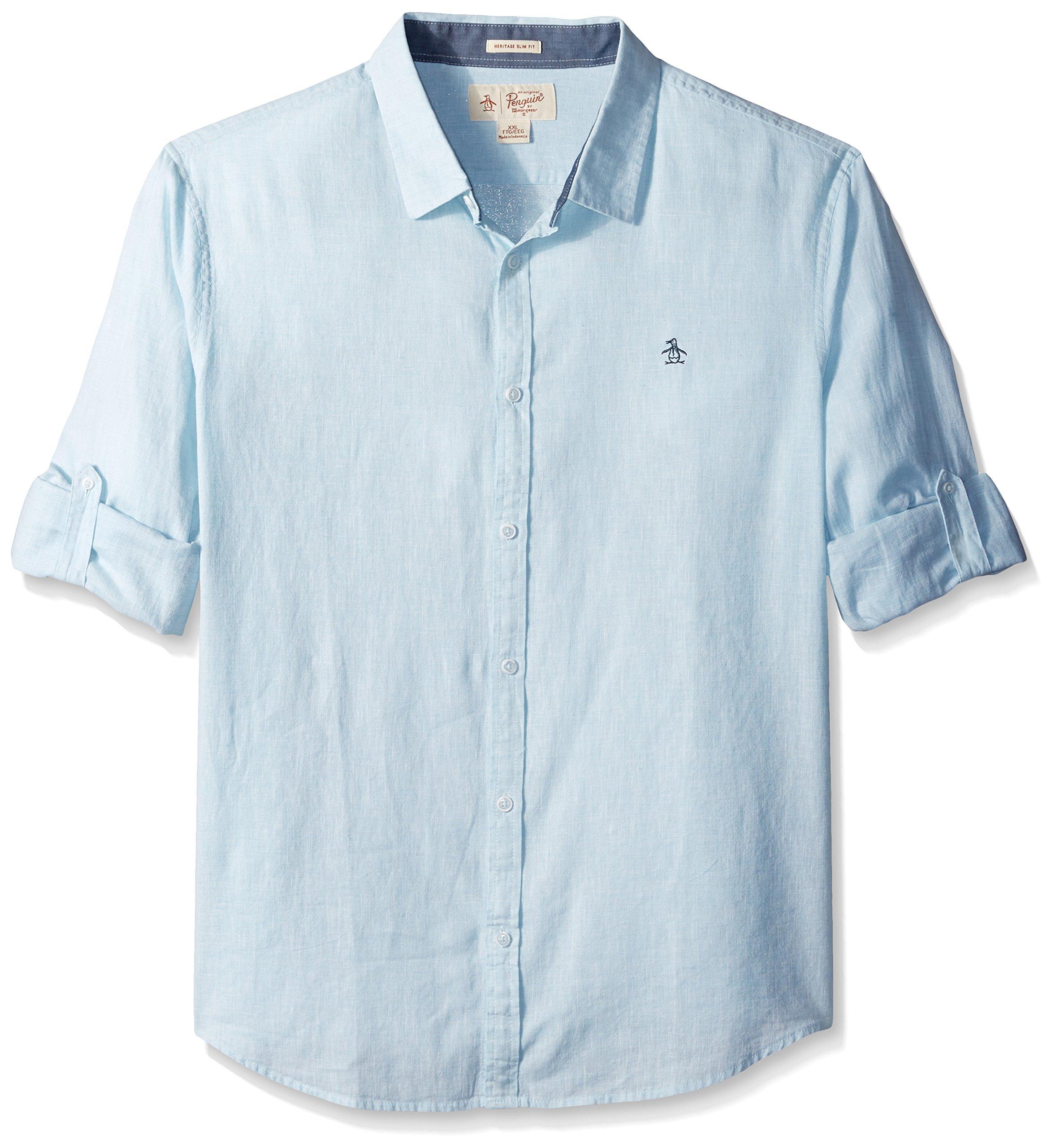 Original Penguin Men's Roll Sleeve Linen Blend End Shirt, Blue Glow, Medium