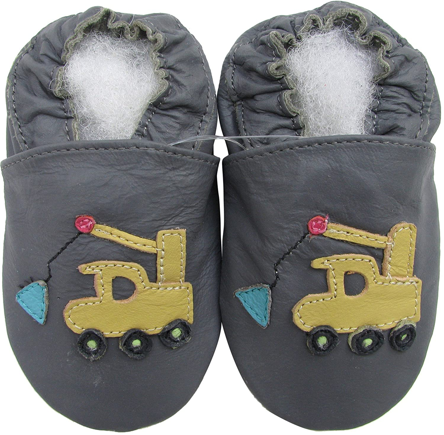 Carozoo Crane Dark Grey S Unisex Baby Soft Sole Leather Shoes