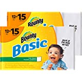 Bounty Basic Paper Towels, White, Large Roll, 12 Count (Pack of 2)
