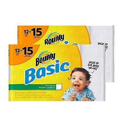 Bounty básicos toallas de papel, blanco, rollo de papel para la pared, 12