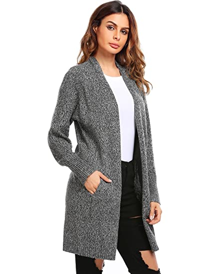 BeautyUU Womens Basic Open Front Long Sleeve Flowy Knit Cardigan Sweater W/Pockets