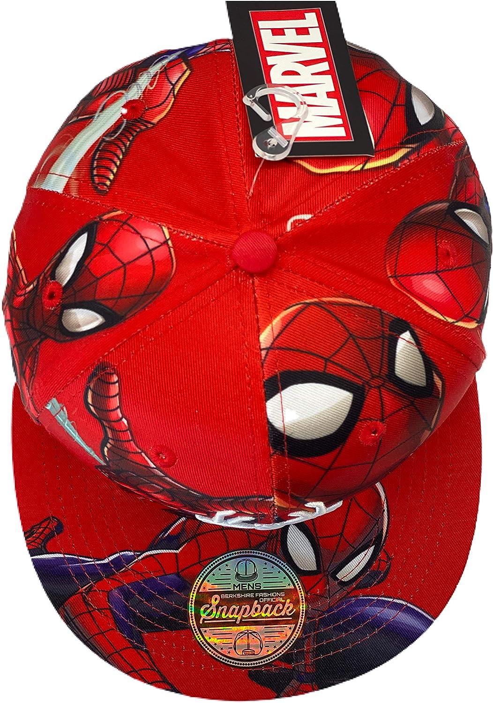 Red Marvel Comics Mens Spiderman Character Costume Embroidered//Printed Snapback Flatbrim Baseball Cap Hat