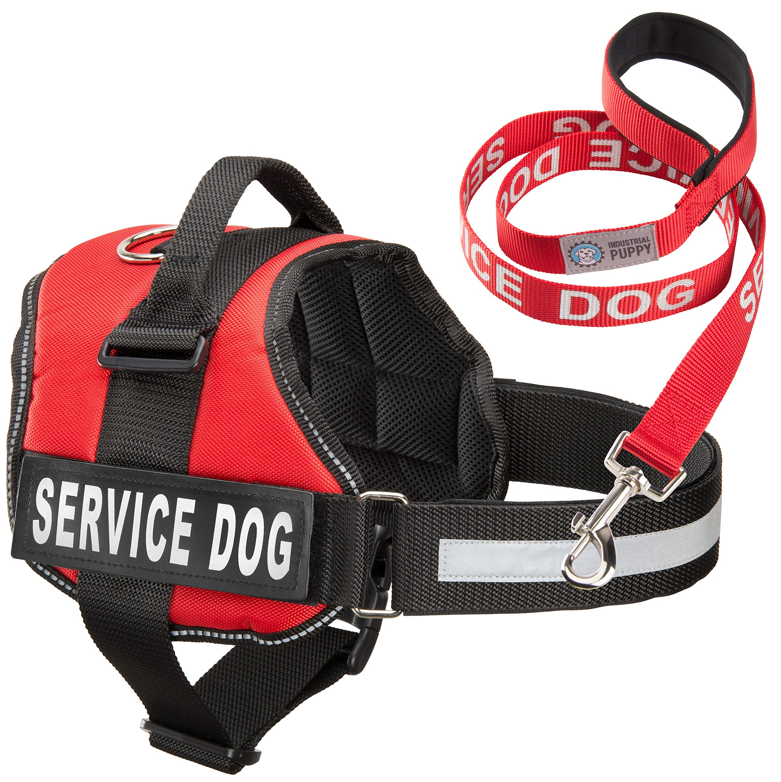 Service Dog Vest With Hook and Loop Straps & Matching Service Dog Leash Set - Harnesses From XXS to XXL - Service Dog Harness Features Reflective Patch and Comfortable Mesh Design (Red, XXS) by Industrial Puppy