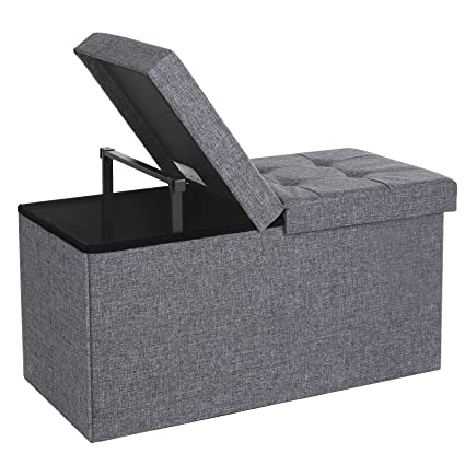 SONGMICS 30u0026quot; L Fabric Storage Ottoman Bench With Lift Top, Storage  Chest Foot Rest