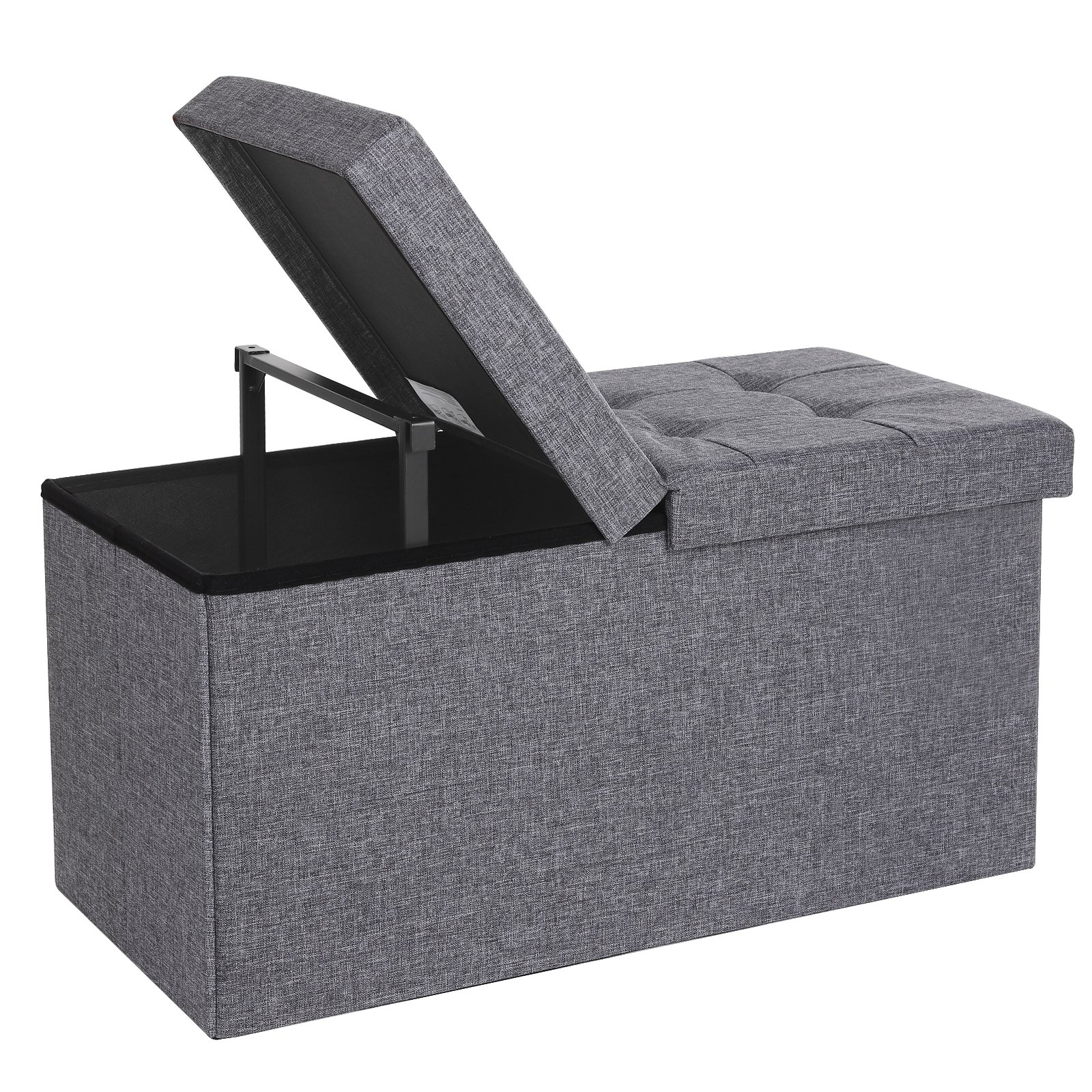 SONGMICS 30'' L Fabric Storage Ottoman Bench with Lift Top, Storage Chest Foot Rest Stool, Dark Grey ULSF40H