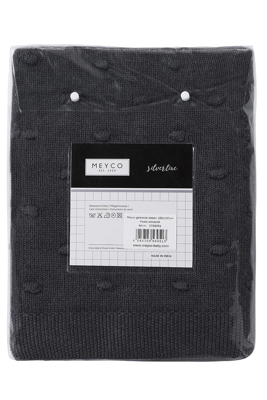 Meyco 2753051 Manta de Bebé de punto con nodos 100 x 150 cm, color gris oscuro: Amazon.es: Bebé
