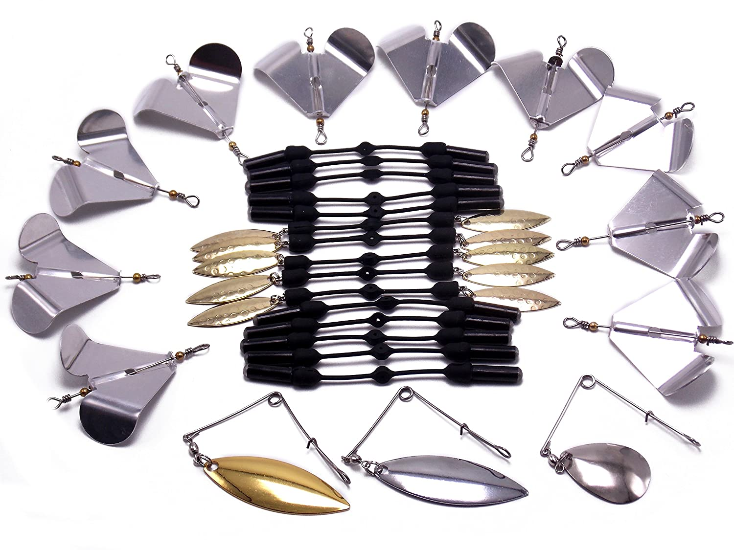 CATCHSIF 28pcs Lure Customization Blades and rattles for Spinners buzzbaits Swim jigs and chatterbaits