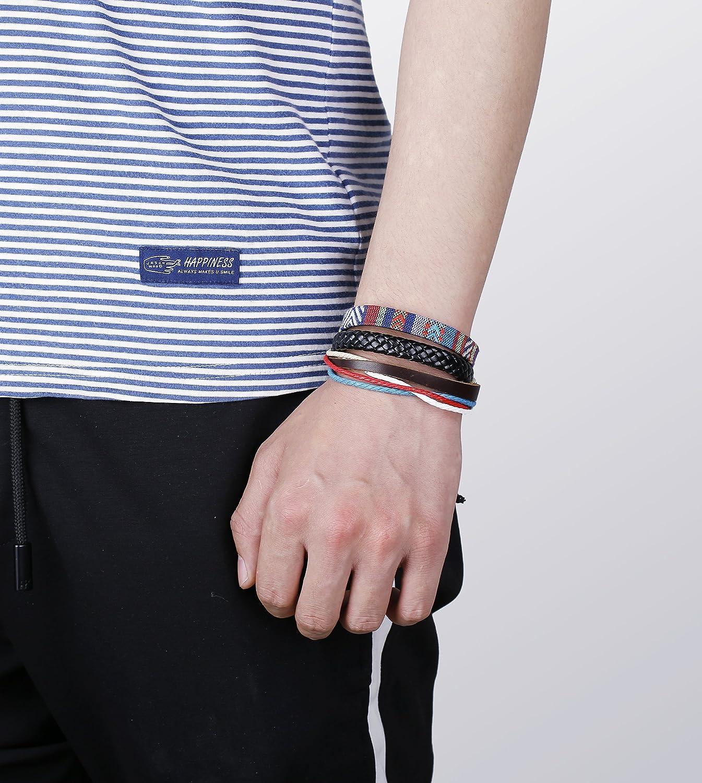 Jstyle 8-26 Pcs Braided Leather Bracelet for Men Women Wooden Beaded Bracelets Wrap Adjustable