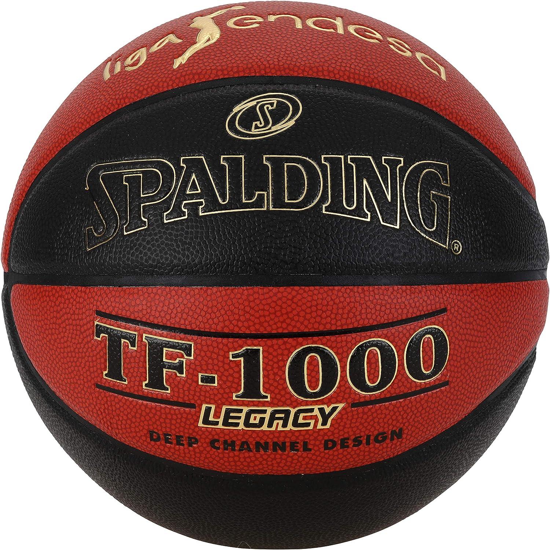 Spalding ACB-L.Endesa Tf1000 Legacy Sz.7 Unisex Adulto 7 76-286Z Naranja Oscuro//Negro Bal/ón de Baloncesto