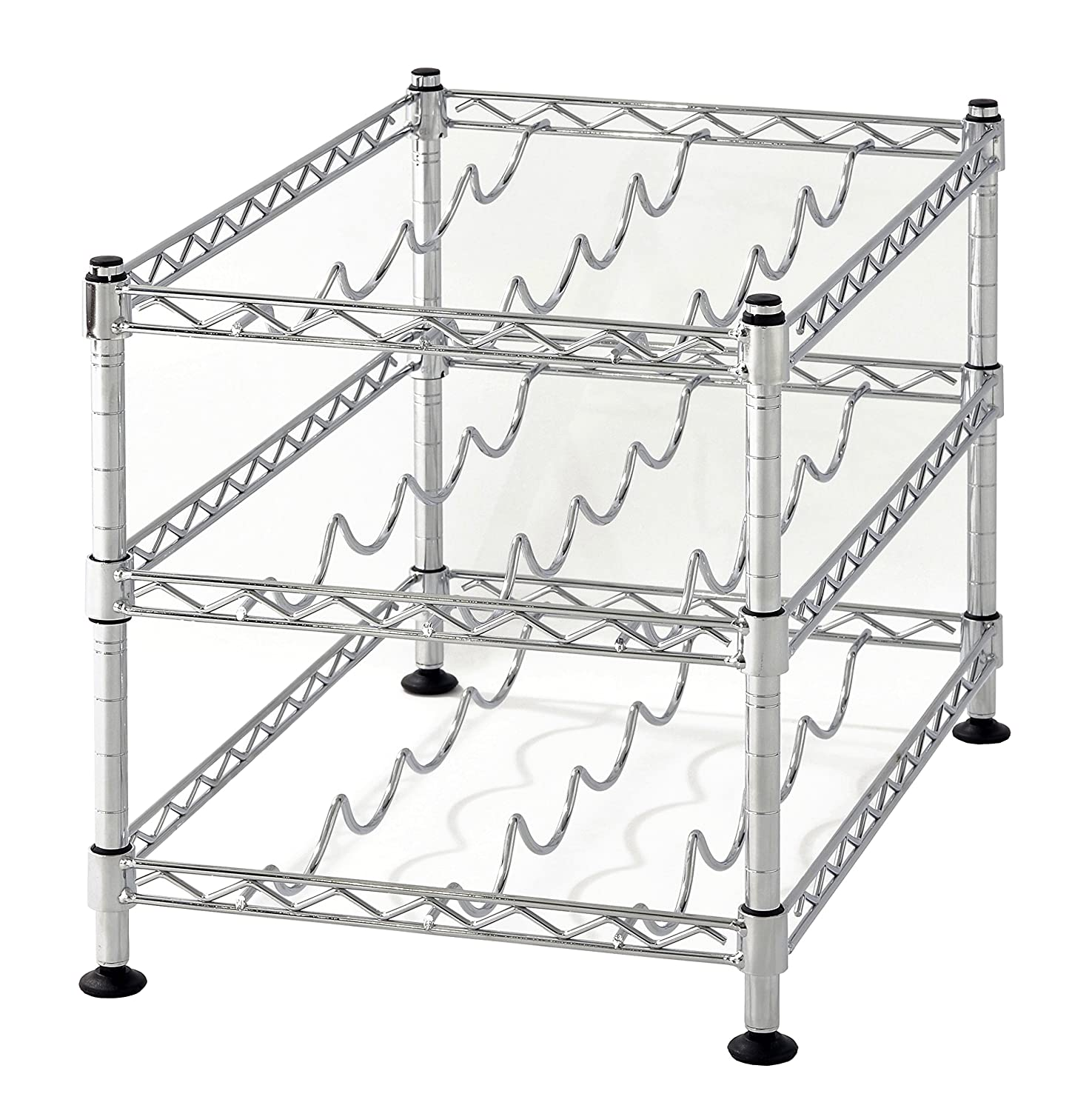 18 by 12 Muscle Rack WBS181212 12-Bottle Chrome Wine Rack 18 Width 12 Height 330 Pounds Load Capacity