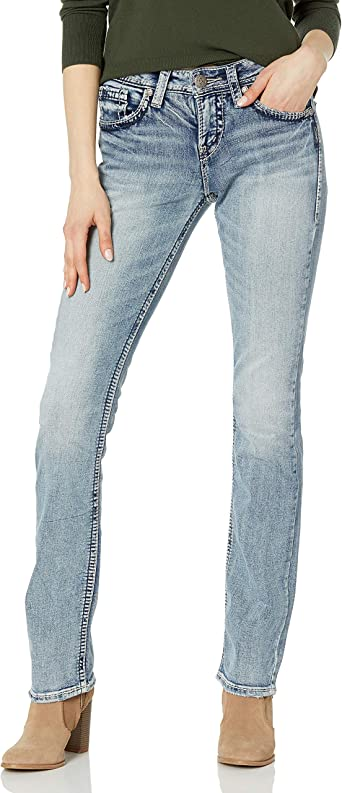 Amazon Com Silver Jeans Co Pantalones De Mezclilla De Tiro Alto Y Corte Ligeramente Acampanado Para Mujer Clothing