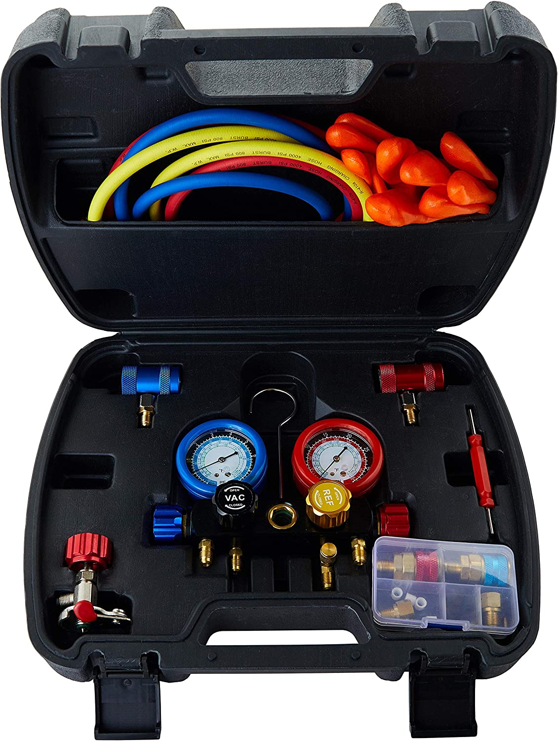 Lichamp AC R1234YF R134A Gauge Set, Automotive 4 Valve Manifold Gauge Compatible with R1234YF and R134A Refrigerants, Works on Car Freon Charging and Evacuation