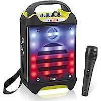 Pyle Wireless PA System Karaoke Speaker Flashing DJ Lights, Built-in Rechargeable Battery,Bluetooth Wireless Microphone…