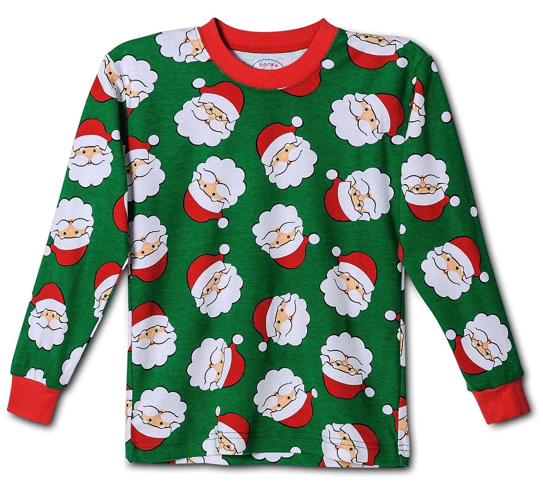 Kids Size 10 Kids Size 7 Saras Prints Boys Christmas Santa Claus Pajama