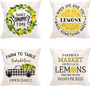 Hexagram Lemon Summer Pillow Covers Set of 4, Buffalo Plaid Summer Room Decor Couch Cushion Cases, Farmhouse Truck Lemons Quotes Decorative Summer Throw Pillow Covers, Outdoor Yellow Home Decor