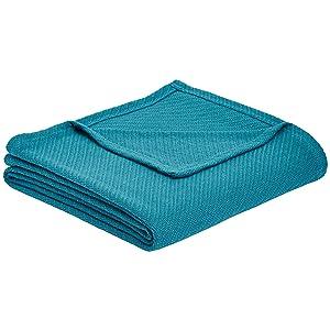 AmazonBasics Cotton Woven Throw Blanket - 66 x 90 Inches, Teal