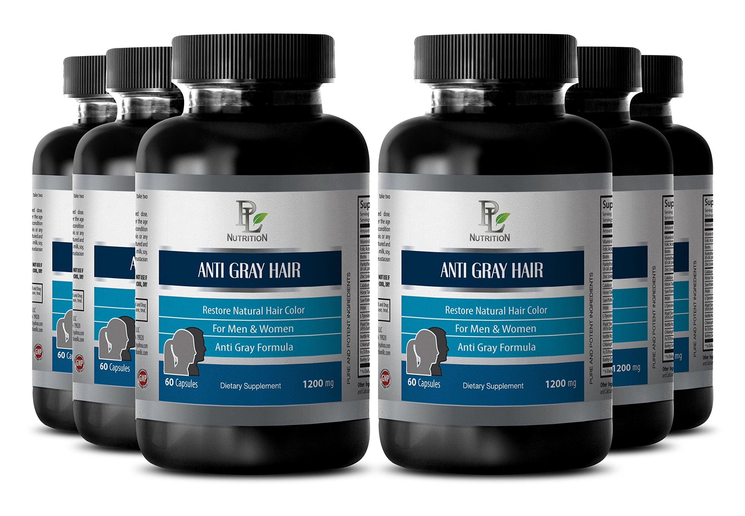 Increase hair thickness - ANTI GRAY HAIR NATURAL COMPLEX 1200mg - Barley grass juice powder - 6 Bottles 360 Capsules