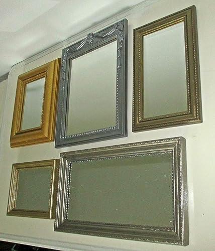 . Amazon com  FIVE Upcycled Vintage Wall Mirrors  Metallic Grey