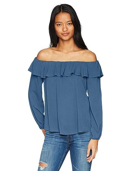0e20238943ff5 Soul Cake Women s Long Sleeved Off Shoulder Ruffle Top at Amazon Women s  Clothing store