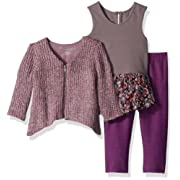 PIPPA & JULIE Baby Girls' Top, Leggings & Sweater 3-Piece Outfit, Purple Multi, 12 Months