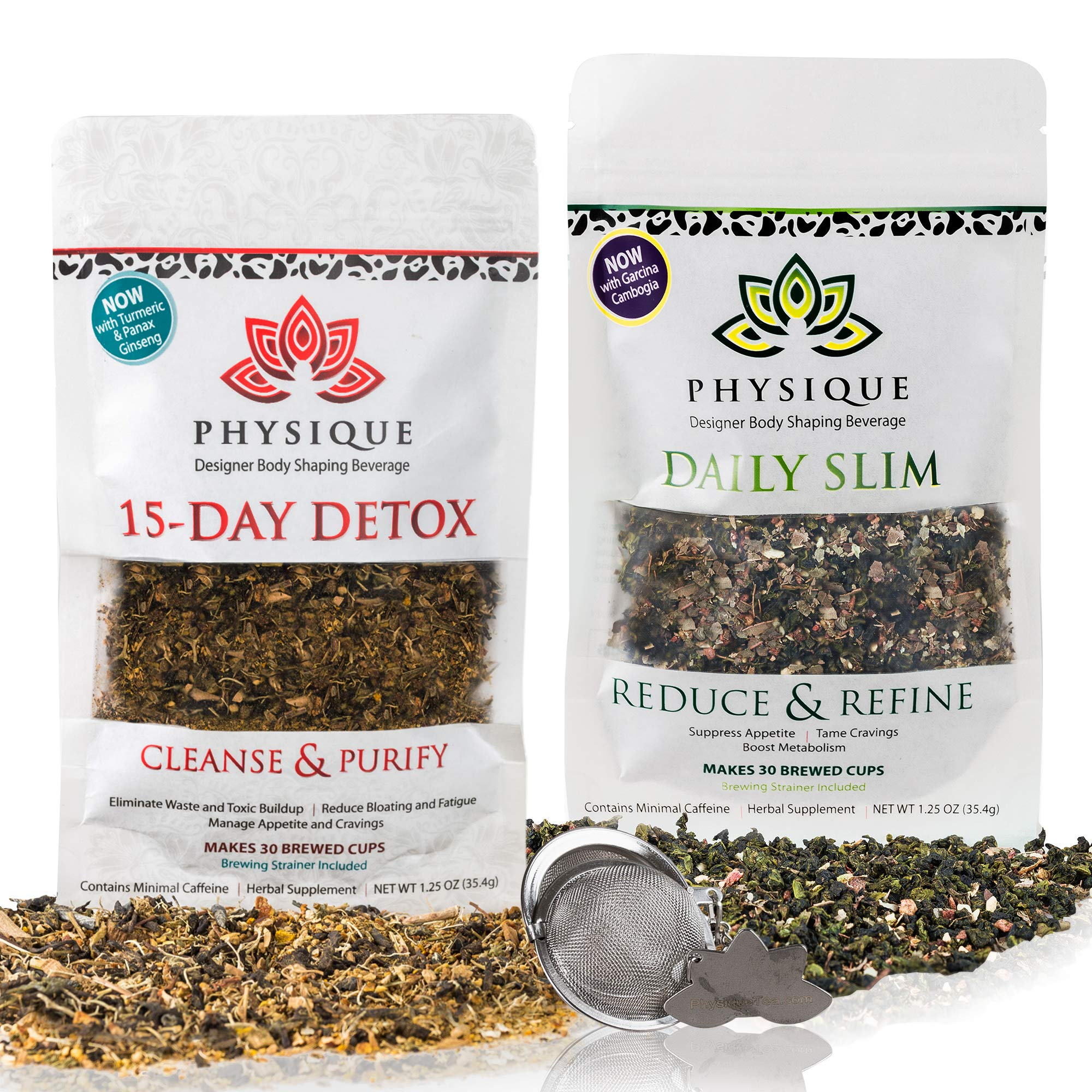 Physique Tea 30 Day Supply of Your Custom Blended Teatox + Daily Slim | Superior Body Cleanse and Slimming Tea | Free Detox Diet and Strainer Included by Physique